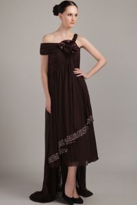 Asymmetrical High-low Flowers Beading Brown Concord Mother Dress