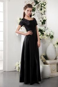 Black Scoop Taffeta Lincoln Mother Bride Dress with Short Sleeves