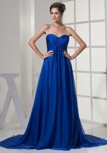Watteau Train Ruched Blue Wedding Outfits for Mothers in Branson