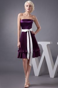 Pleated Eggplant Purple Mother Of Bride Dresses with White Sash