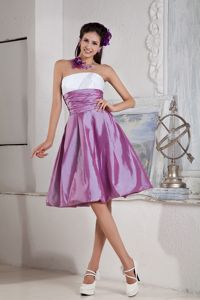 Cheap Ruched Strapless Lavender and White Mother Dress in Troy
