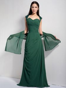 Ruched Dark Green Chiffon Appliques Mother Bride Dress in Quincy