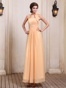 Halter Chiffon Gold Ruched Mother Dress for Wedding in Framingham
