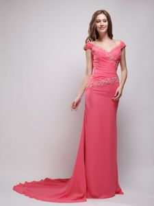 Appliques V-neck Coral Red Ruched Train Chiffon Acton Mother Dress
