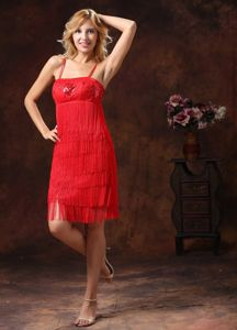 Embroidery Sequins Red Spaghetti Straps Towson Mother Bride Dress