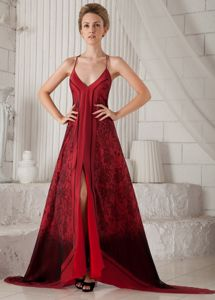 Spaghetti Straps Printing Red Colora Mother Dress with Brush Train