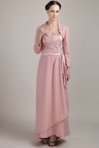 Beading Ruched Wide Straps Pink Mother Of Bride Dress in Montana