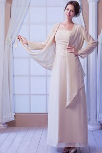 Appliques Beaded Champagne Chiffon New Mother Dresses in Maryland
