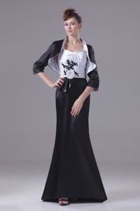 Flowers Appliques Ruching Straps Black and White Mother Dress 2014