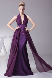 Appliques Halter Beaded Ruching Purple Mother Dress in Baton Rouge