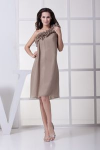Ruffled One Shoulder Champagne Mother Of Bride Dress in Lafayette