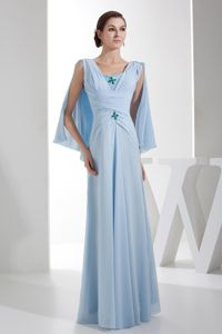 Watteau Train V Neck Ruched Beading Baby Blue Mother of Bride Dress