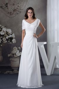 Ruched V-neck White Chiffon Floor-length Mother of Bride Party Dress