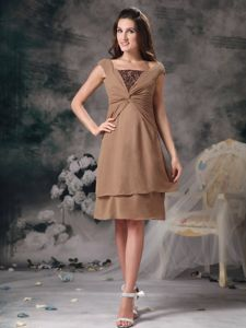 Cap Sleeves Beading Ruched Layers Chiffon California Mother Dresses