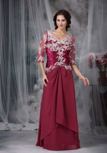 Half Sleeves V-neck Appliques Ruched Layers Mother of The Bride Dress