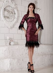 Short Burgundy Strapless Ruched Taffeta Mother of The Groom Gowns
