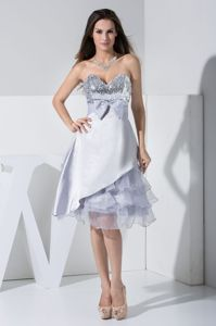 Bowknot Sweetheart Sequin Layers Ruffled Knee-length Mother Dresses