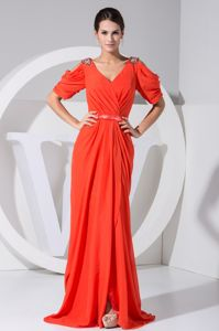 Short Sleeves Sash Coral Red Chiffon Long Mother of The Groom Gowns