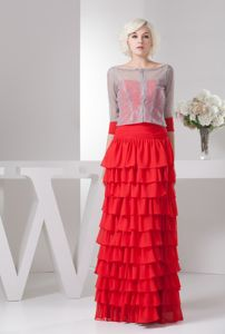 Ruffled Layers Sweetheart Red Fayette Alabama Mother of Bride Dresses