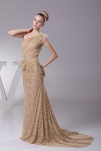 Lace Flowers One Shoulder Brush Train Champagne Best Mother Dress