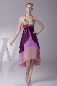 Colorful Halter Top Cool Back Sequin Layers Mother Dress for Wedding