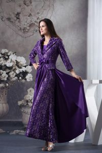 Purple Strapless Ankle-length Mother Party Dresses Hot in Dania Florida
