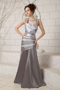 Ruched Straps Brush Train Satin Mother of The Bride Outfits in Arkansas