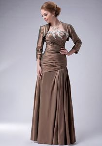 Zipper-up Strapless Ruches Appliques Brown Taffeta Mother Party Dress