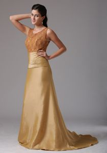 Lace Scoop Neck Brush Train Gold Englewood Colorado Mother Dresses