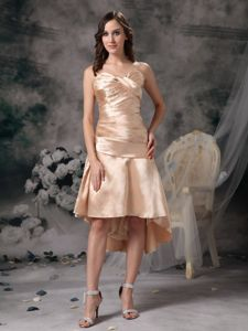High-low Sweetheart Ruched Champagne Mother of The Groom Dresses