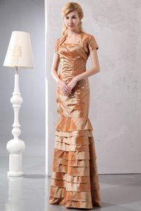 Cheap Straps Beading Floor-length Brown Taffeta Layered Mother Gown